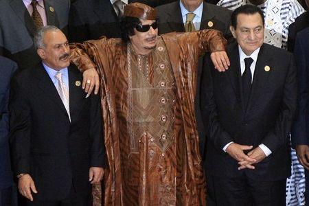 Gaddafi Mubarak y Abdullah Saleh